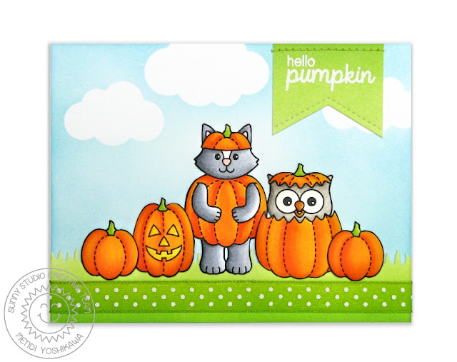 Sunny Studio Stamps: Happy Owl-o-ween Fall Pumpkin Patch Card by Mendi Yoshikawa