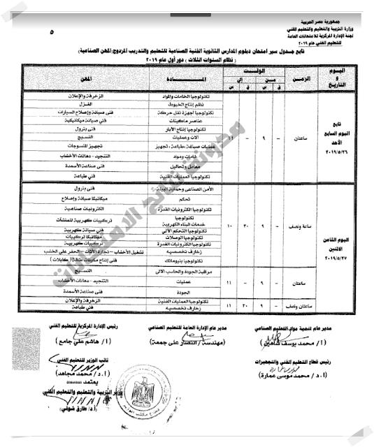 جدول امتحانات دبلوم المدارس الثانوية الفنية للتعليم والتدريب المزدوج 2019