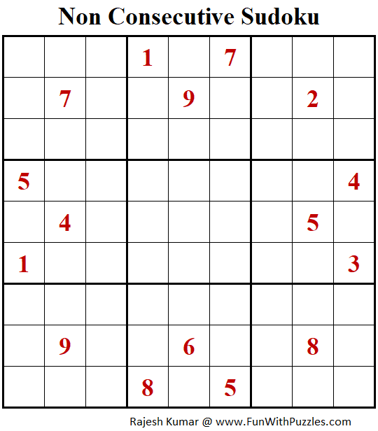 Non Consecutive Sudoku Puzzle (Fun With Sudoku #301)