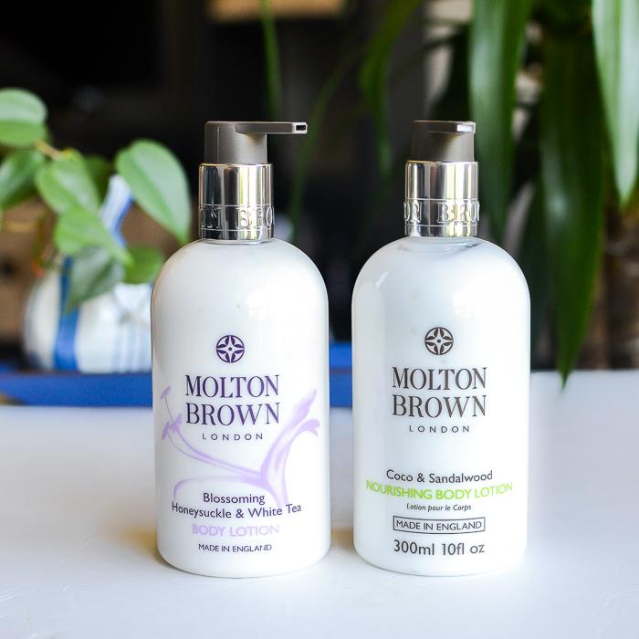Molton Brown Luxury Skincare Body Lotions - Coco Sandalwood - Blossoming Honeysuckle White Tea - Review