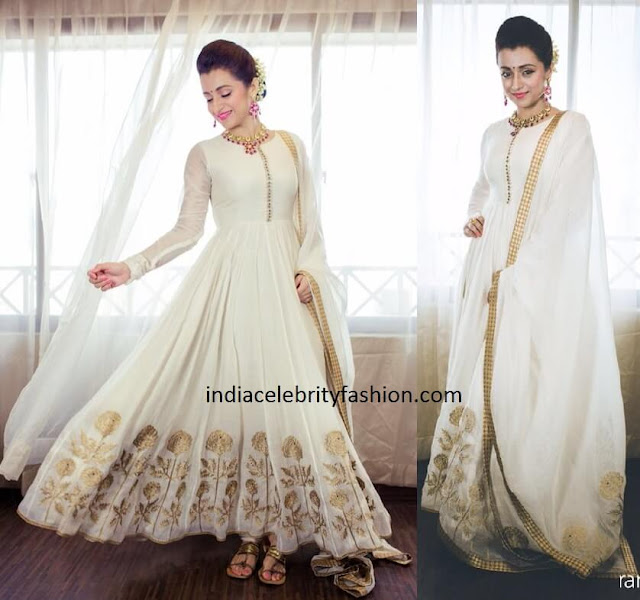 Trisha in Sue Mue White Anarkali