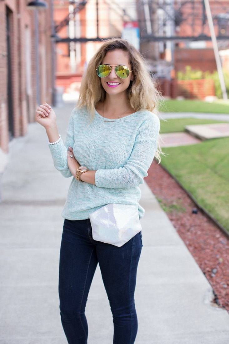 Blue Cable Knit Sweater with Metallic Holograph Belt Bag and Mirrored Aviators