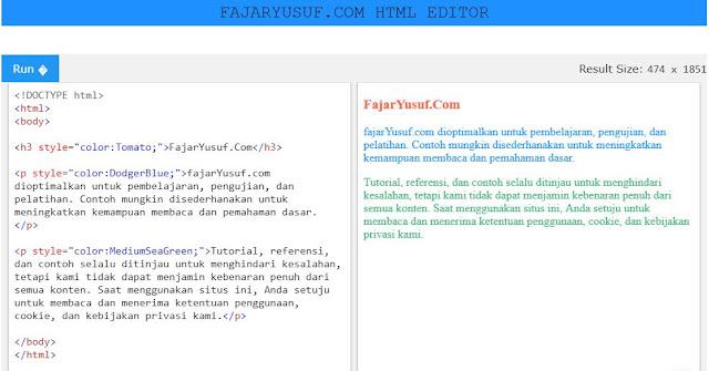 Warna teks pada HTML