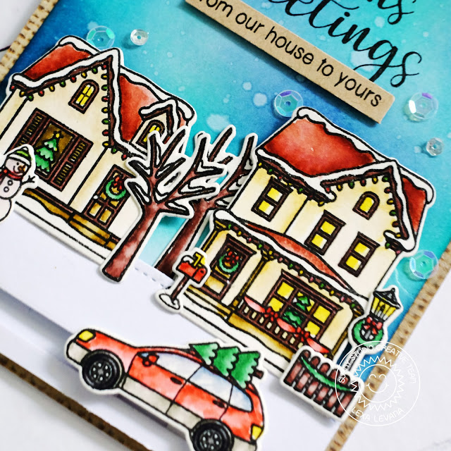 Sunny Studio Stamps: Christmas Home Winter Snowy Streets Scene Interactive Card by Lexa Levana