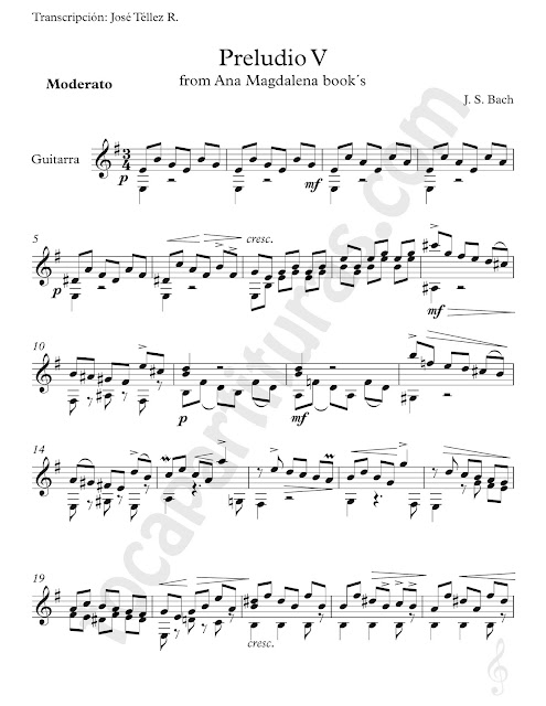 Partitura de Guitarra del Preludio V de J. Sebastian Bach del Cuaderno de Ana Magdalena Sheet Music for Guitar Prelude V from Ana Magdalena book's Classical Music Score