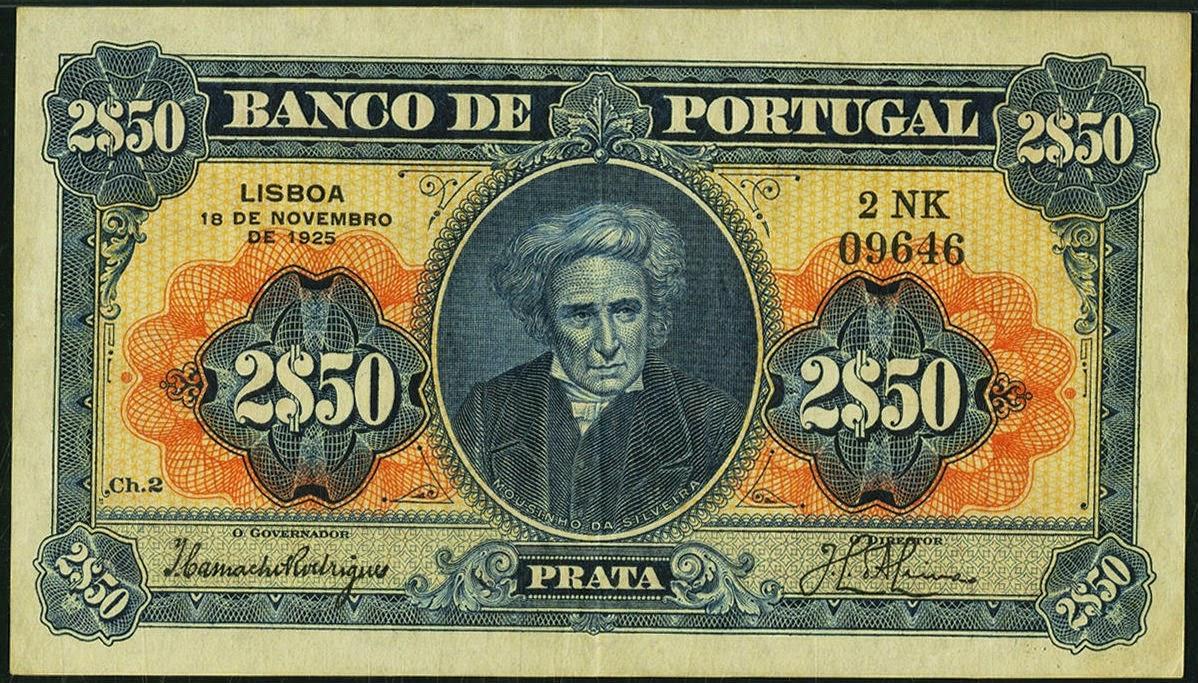 Portugal banknotes 2 Escudos 50 Centavos note 1925 Mouzinho da Silveira