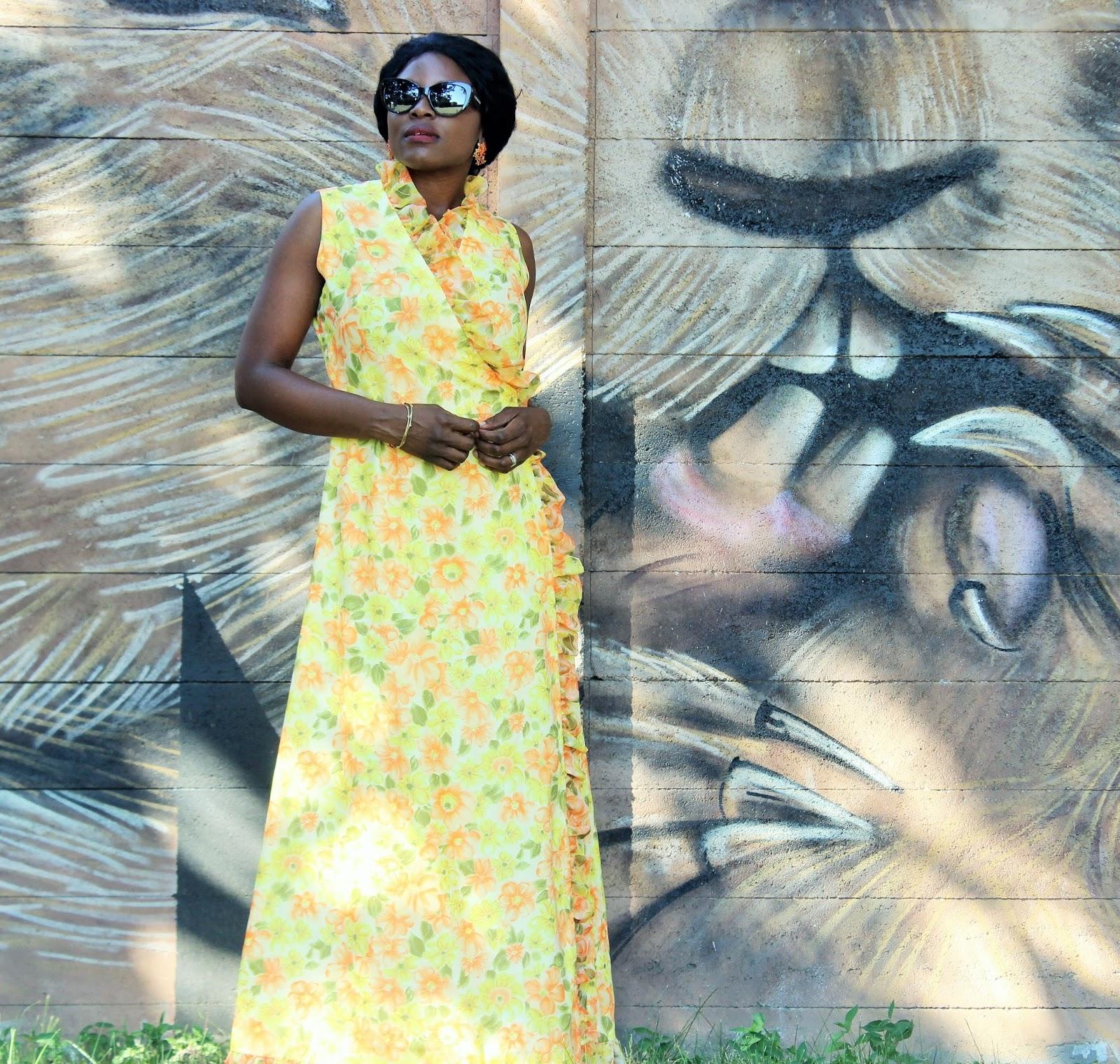 Floral Print Vintage Maxi Dress