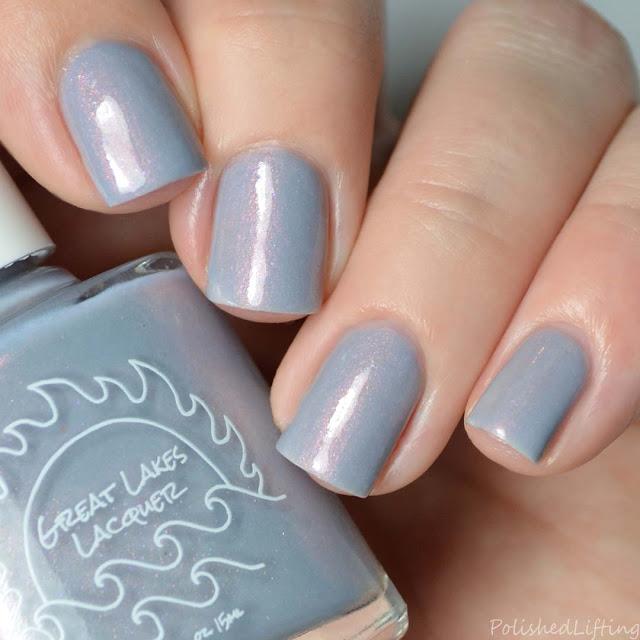 gray nail polish with pink shimmer