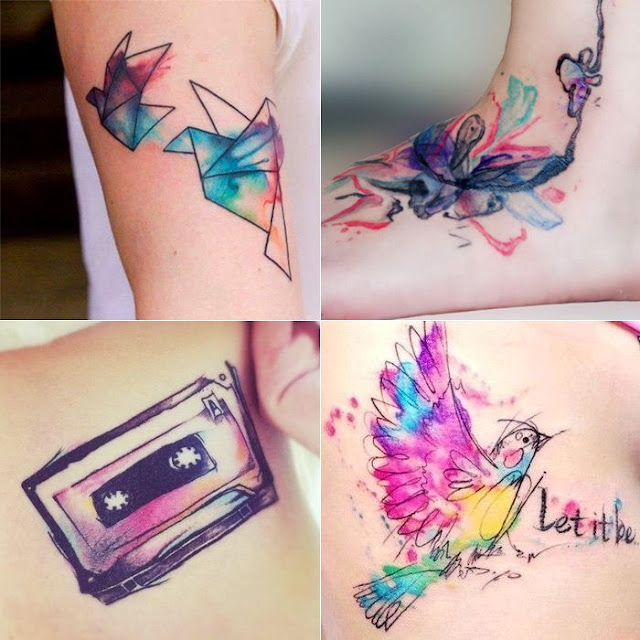 Pássaros, tanto em forma de origami como na forma mais natural, são bens comuns nas tatuagens aquarela.