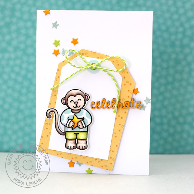 Sunny Studio Stamps: Comfy Creatures Monkey Birthday Card by Anni