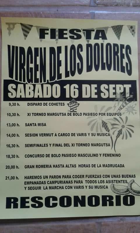 Fiesta Virgen de los Dolores en Resconorio 2017