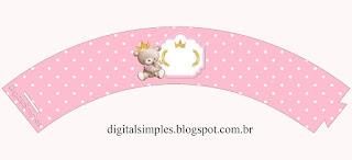 Toppers o Etiquetas de Princesa Osita de Peluche para imprimir gratis.