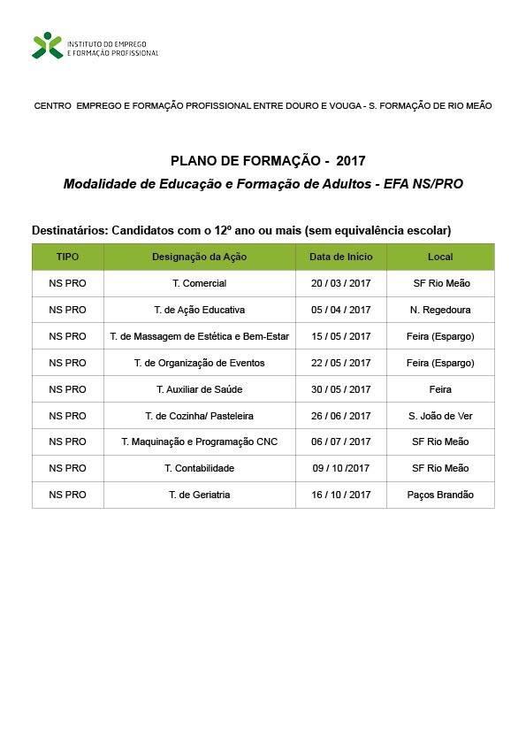 Cursos Efa NS PRO para adultos com o 12º ano – Feira, Rio Meão, Paços de Brandão, S. João de Ver e Nogueira da Regedoura