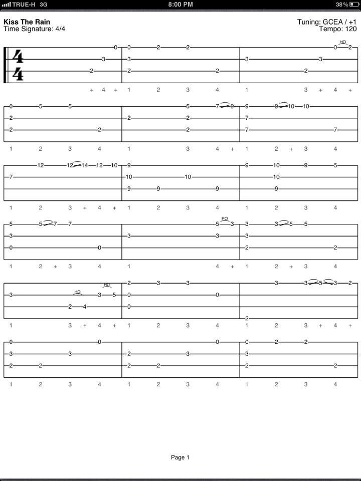 Tablature Ukulele Yiruma Kiss The Rain Irvan Sigufi