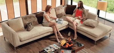 Corner Sofa With a Girl