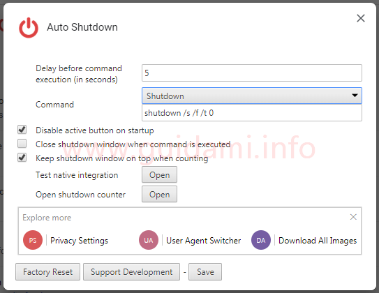 Finestra opzioni estensione Auto Shutdown per Chrome