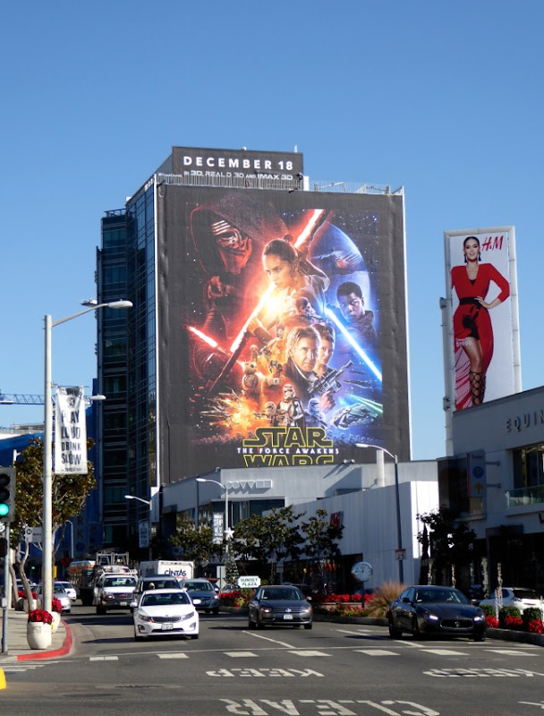 Giant Star Wars Force Awakens billboard Sunset Strip