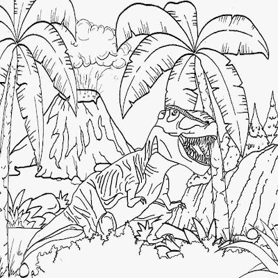 Cretaceous period prehistoric world volcano eruptions tyrannosaurus rex dinosaur king coloring sheet
