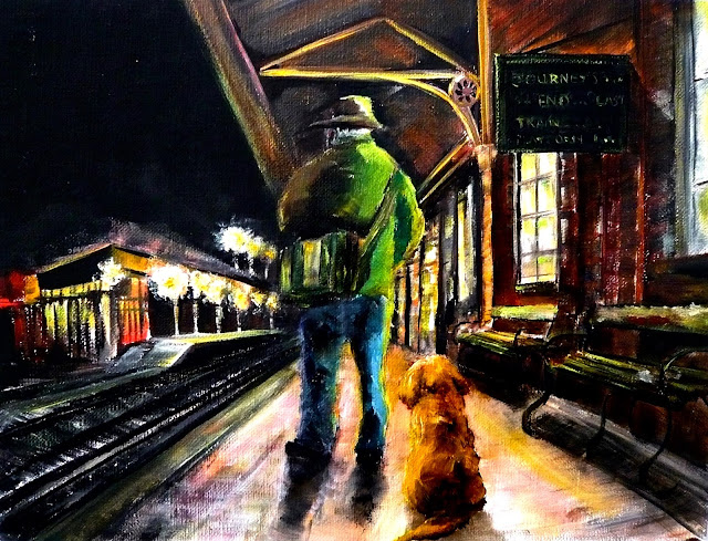 oil painting of a man and dog at a railway station, farewell to 2016