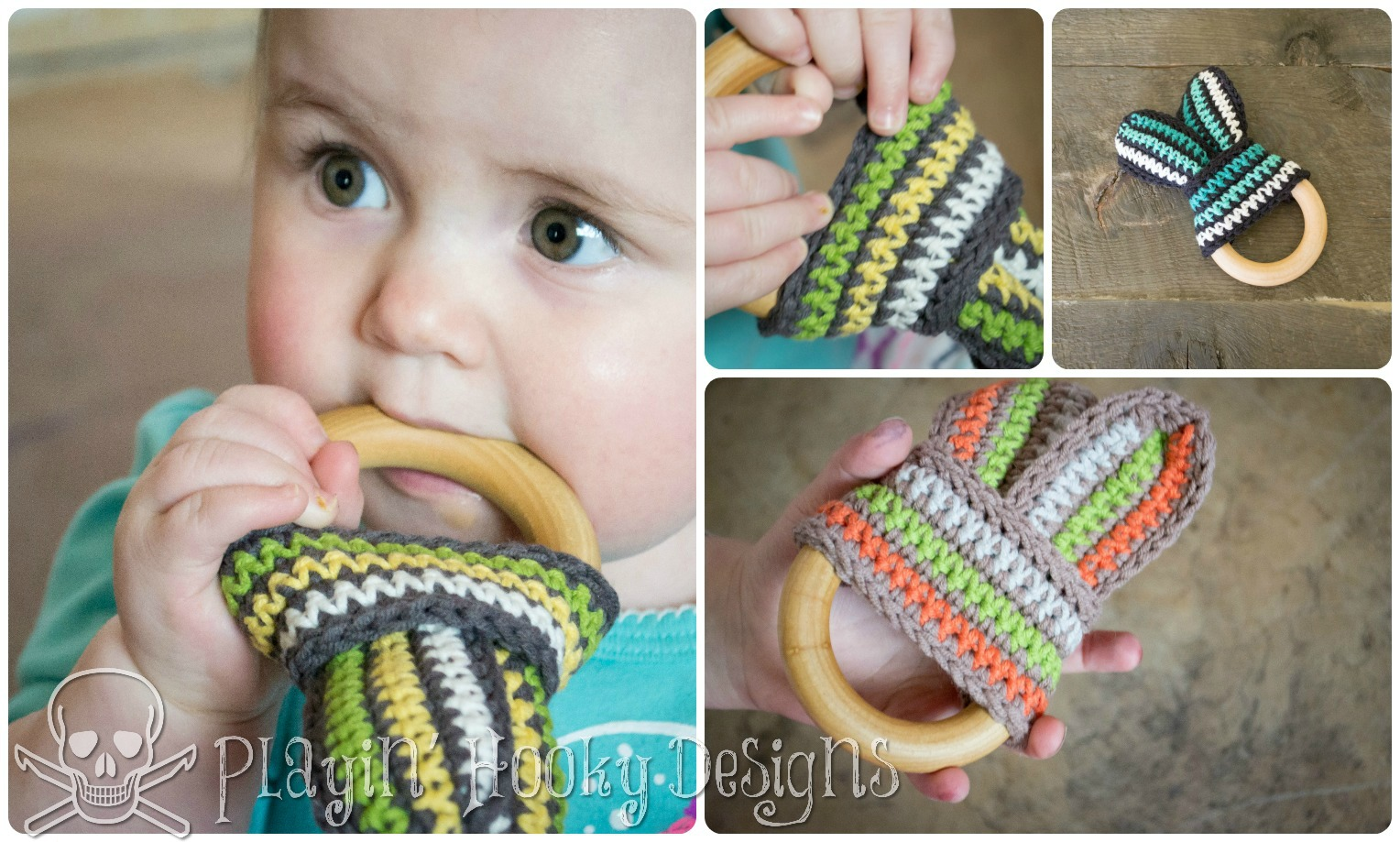 Playin\' Hooky Designs: Bunny Slope Teether for Babies - Free Crochet ...