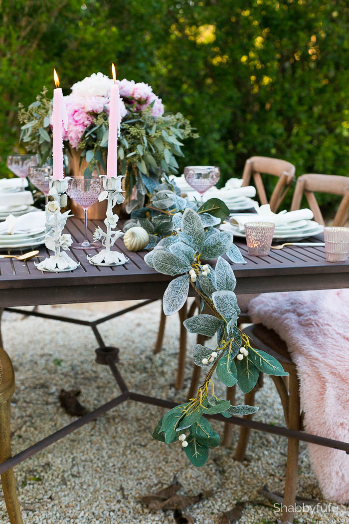 christmas tablescape blush pink