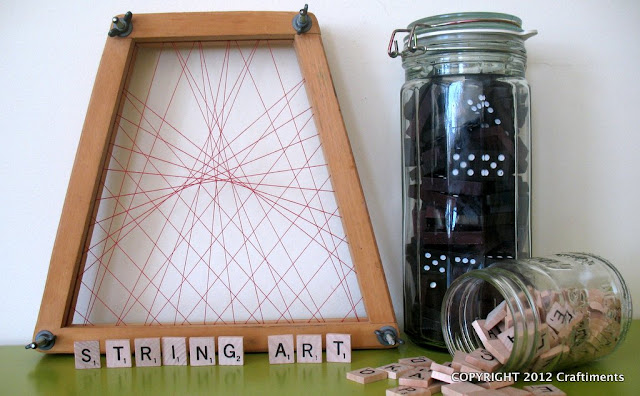 Craftiments.com:  Tennis Racquet Press String Art