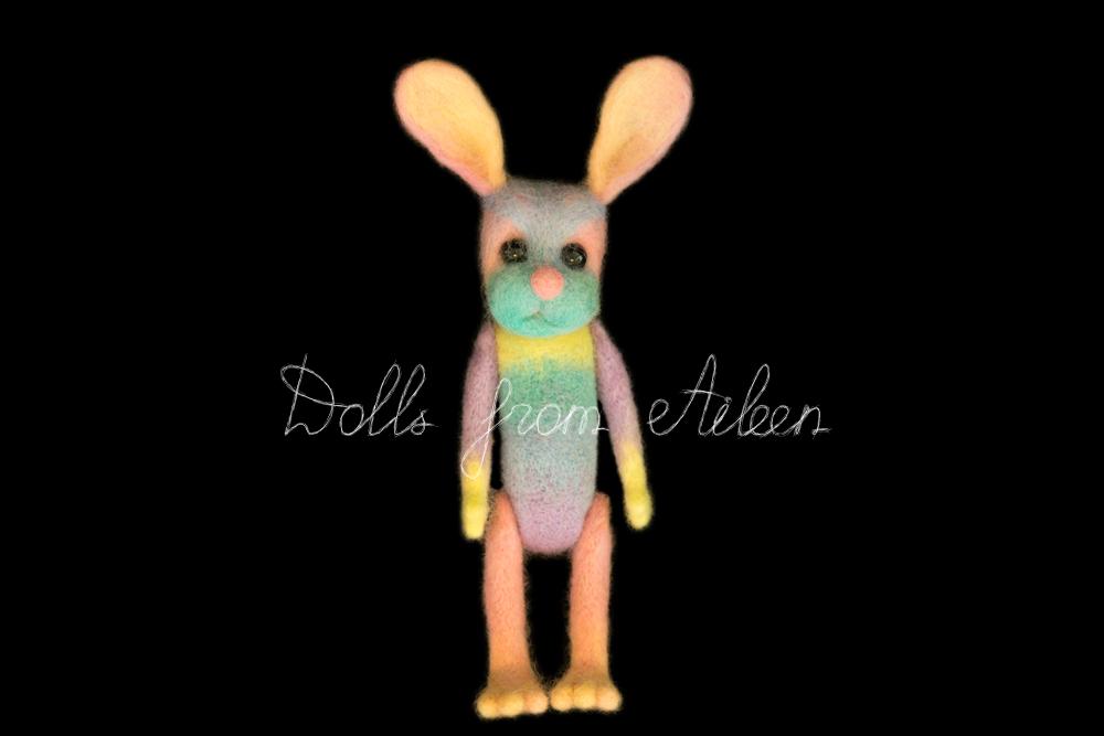 ooak needle felted rainbow bunny