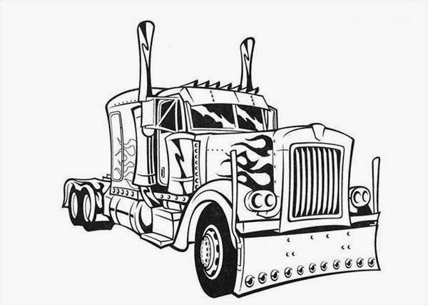 Coloring pages transformers optimus prime printable for Big trucks coloring pages