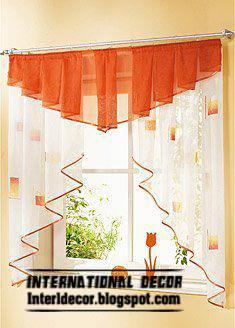 orange kitchen curtain design