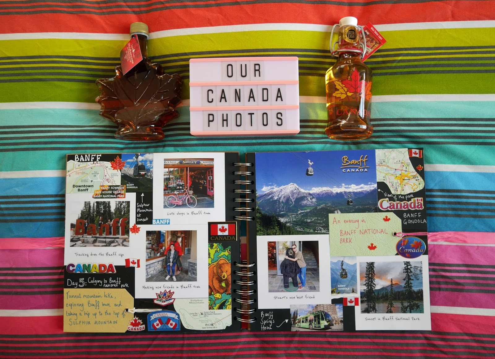 Canada travel scrapbook pages 5-6 (Banff National Park) featuring Printiki's retro prints