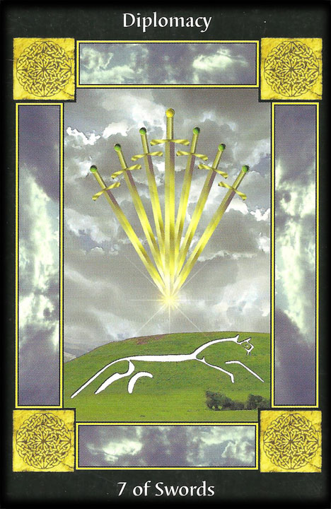 Diplomacy: The 7 of Swords. Image from Celtic Tarot Card Meanings: symbols of the ancient Celts http://www.dnfrost.com/2017/03/celtic-tarot-card-meanings-inspired.html An inspired contribution by D.N.Frost @DNFrost13 Part 5 of a series.