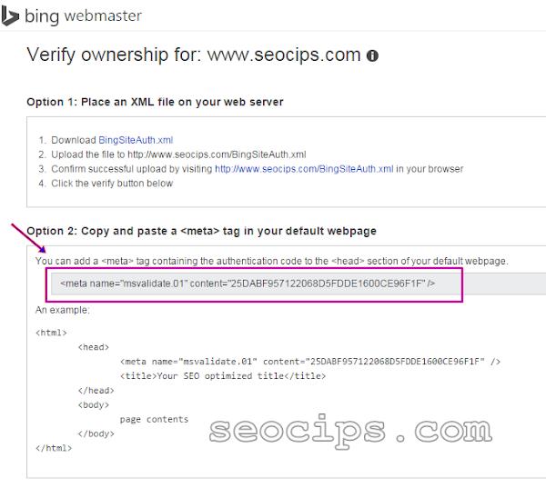 Langkah 6 daftar Blog ke Bing Yahoo