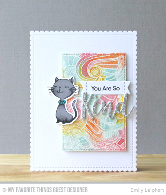Handmade card from Emily Leiphart featuring Kind Words stamp set, Birdie Brown Cool Cat stamp set and Die-namics, Wavy Coloring Book Background stamp, Kind & Kindness, Stitched Sentiments Strips, Stitched Rectangle STAX, and Blueprints 27 Die-namics #mftstamps