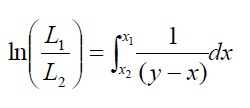 ln(L1/L2)=integration of (1/y-x)dx from x2 to x1