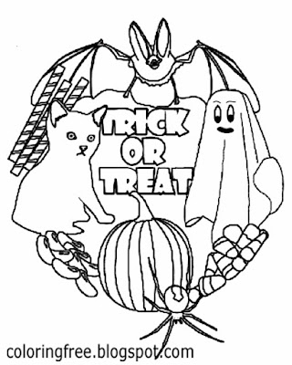 Simple art activities for Halloween pictures to color and print ghost and ghoul fun for older kids