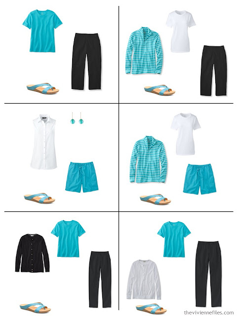 how to wear turquoise, or teal, or azure, with black and white
