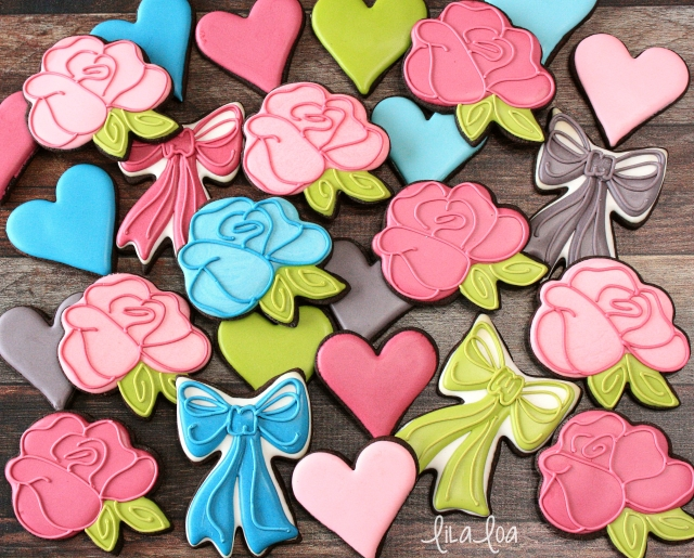 Decorated Sugar Cookies for Valentine's Day -- Roses and Bows