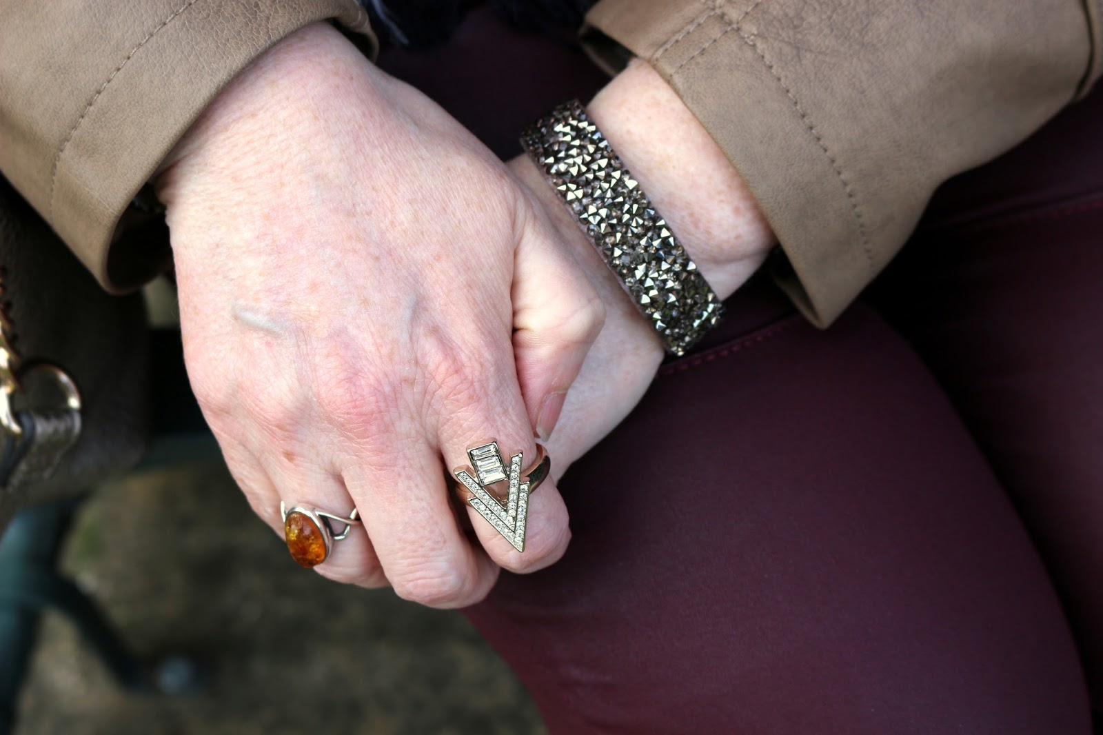 Stylish Look on a Budget; Glittery Bracelet, Arrow Ring | Petite Silver Vixen, over 40 style