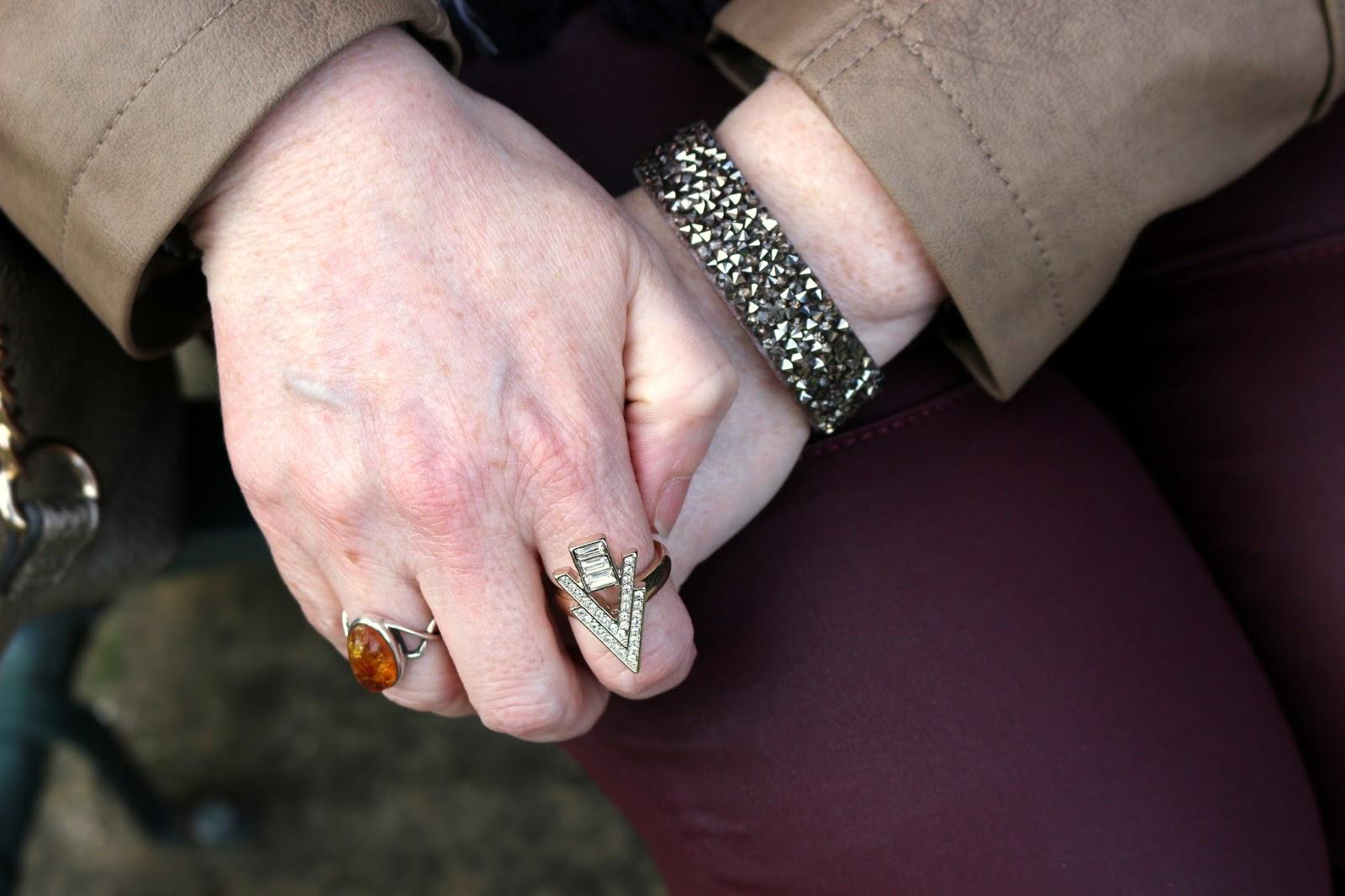 Stylish Look on a Budget; Glittery Bracelet, Arrow Ring | Petite Silver Vixen, over 40 style
