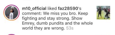 Mesut Ozil Likes Criticism of Unai Emery