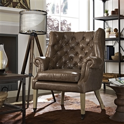 Tufted Brown Vinyl Lounge Chair