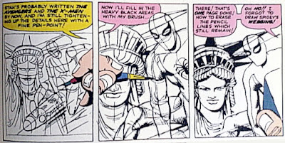 Steve Ditko draws Spider-Man, Statue of Liberty