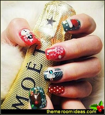 nail art - Christmas nails - Christmas nail stickers - Winter holidays nail design ideas -   Christmas nail art - Christmas snowflakes snowmen nail art stickers - Christmas themed stickersnail art decals
