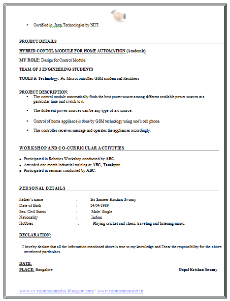 Good Resume Example For Freshers  fresher resume format     Resume Samples For Freshers Electrical Engineers Pdf Home Uncategorized Sample  Curriculum Vitae For Engineering Freshers