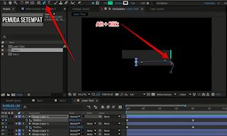 Membuat animasi bengkok menjadi tegak lurus - Gunakan tool pen tool lalu tekan alt di keyboard dan klik kotak kecil pada bagian animasi yang bengkok