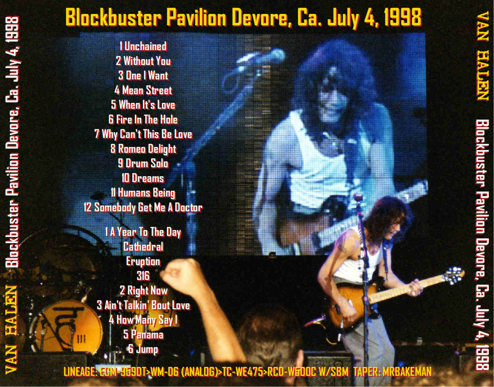 Viva Les Bootlegs Van Halen Devore 1998 Blockbuster Pavilion Devore Ca Usa 1998 07 04 Double Cd Lossless Flac