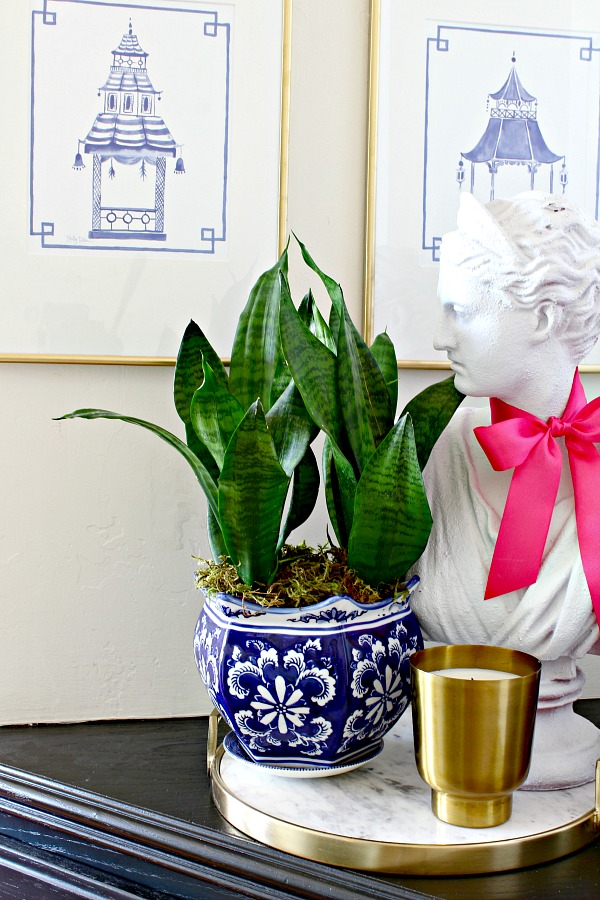 lady bust, snake plant, pagoda prints, hall nook