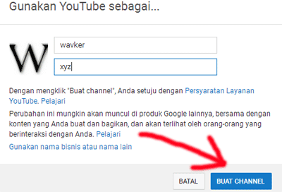 mengisi nama chanel di youtube