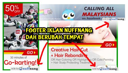 Footer iklan Nuffnang ubah kedudukan