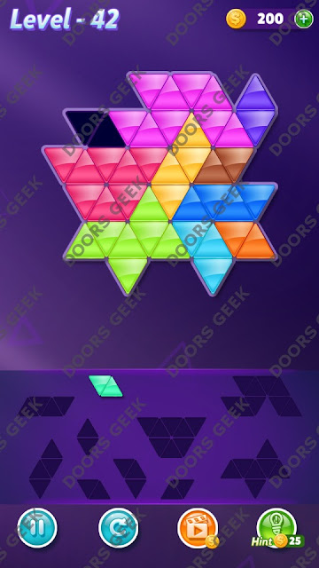 Block! Triangle Puzzle 10 Mania Level 42 Solution, Cheats, Walkthrough for Android, iPhone, iPad and iPod
